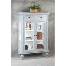 CC-CAB1290TLD-AGWW  Cottage Curio Cabinet  Distressed Gray/ White