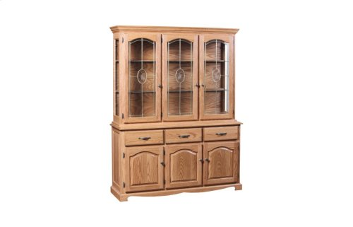 Grand 3 Door Buffet & Full Hutch W/Rose Lead Glass