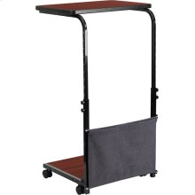 Mobile Sit-Down, Stand-Up Mahogany Computer Ergonomic Desk with Removable Pouch (Adjustable Range 27'' - 46.5'')