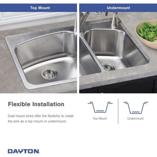 """Dayton Stainless Steel 33"""" x 22"""" x 8"""", Equal Double Bowl Dual Mount Sink"""