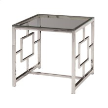 Silver Metal/glass Accent Table, Kd
