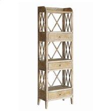 Carlisle Rustic Wood 3 Drawer Tall X Storage Shelf
