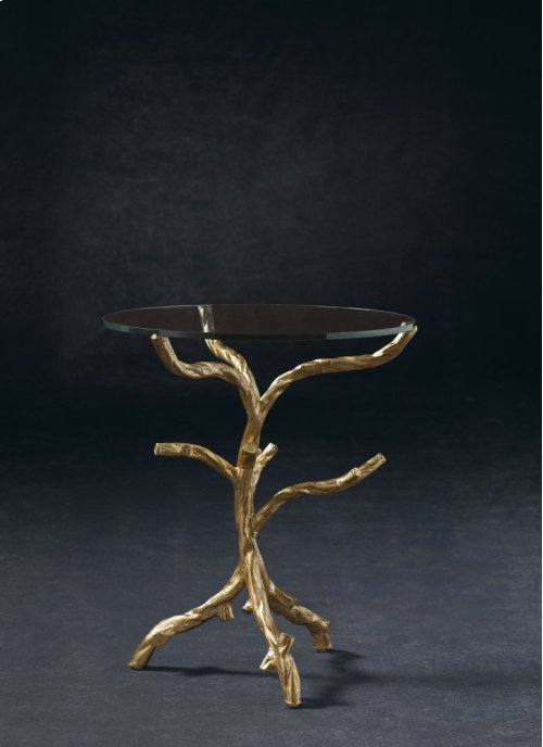Ava Round End Table Glass Top and Metal End Table Base