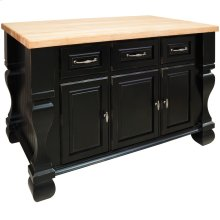 "52-5/8"" x 32-3/8"" x 35-1/4"" Distressed black furniture style kitchen island with ample cabinet storage as well as opening shelf on the reverse."