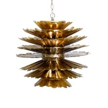 Gold Leafed Iron Pierced Pendant. Comes With 3' Matching Chain and Canopy. Uses (1) Single 60w Bulb.
