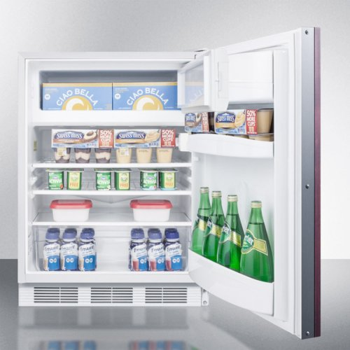 Built-in Undercounter Refrigerator-freezer for General Purpose Use, With Dual Evaporator Cooling, Integrated Door Frame for Overlay Panels, and White Cabinet