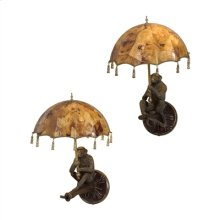 PAIR OF VERDIGRIS PATINA BRASS MONKEY WALL LAMPS, PENSHELL P ARASOL SHADES
