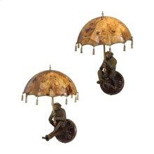 Pair of Verdigris Patina Brass Monkey Wall Lamps, Penshell Parasol Shades