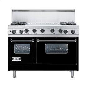 """Black 48"""" Sealed Burner Self-Cleaning Range - VGSC (48"""" wide, four burners & 24"""" wide griddle/simmer plate)"""