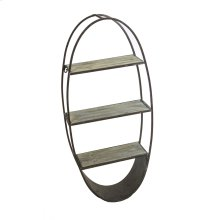 Oval Wood/metal Wall Shelf