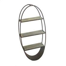 Oval Wood/metal Wall Shelf