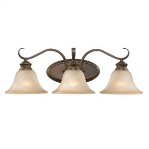 Lancaster 3 Light Bath Vanity in Rubbed Bronze with Antique Marbled Glass