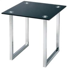 "End Table, Chrome/tempered Black Glass Top, 21""lx21""wx20""h"
