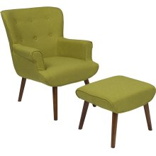 Bayton Upholstered Wingback Chair with Ottoman in Green Fabric