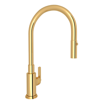 Inca Brass Lombardia Pull-Down Kitchen Faucet with Country and Classic Metal Lever