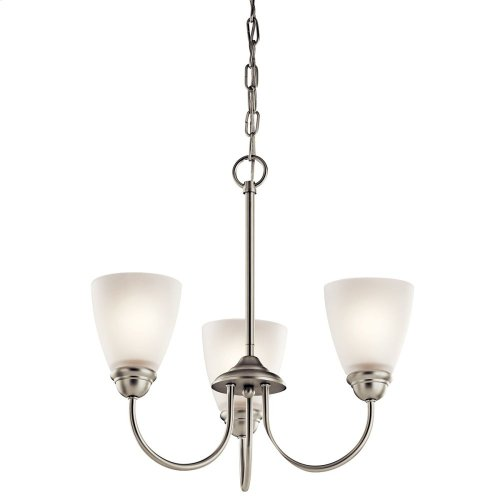 Jolie 3 Light Mini Chandelier with LED Bulbs Brushed Nickel
