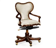 Double Lobed Shaped Mahogany Office Chair, Upholstered in Embossed Cream Leather