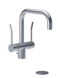 """Two-handle vented mixer with long lever and 1/4 turn ceramic disc technology, double swivel spout with M22 aerator, with pop-up waste 1 1/4"""" - Grey"""