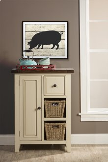 Tuscan Retreat® Coffee Cabinet With 2 Shelves/baskets - Country White With Antique Pine Top