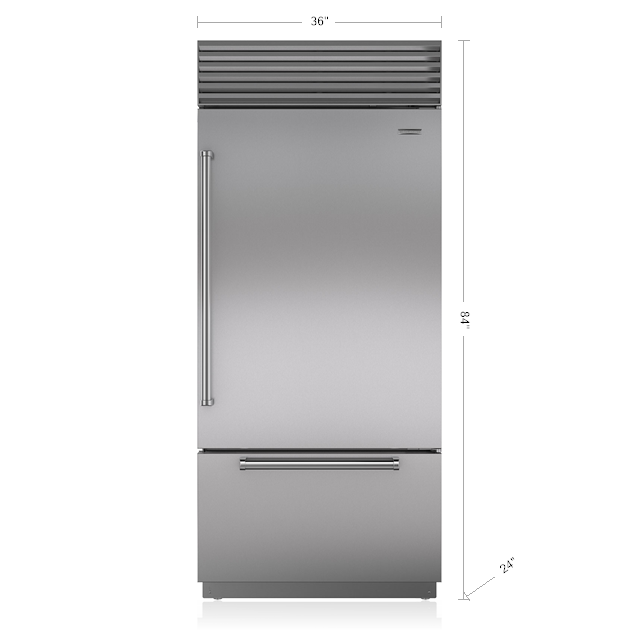 "Subzero36"" Classic Over-And-Under Refrigerator/freezer With Internal Dispenser"
