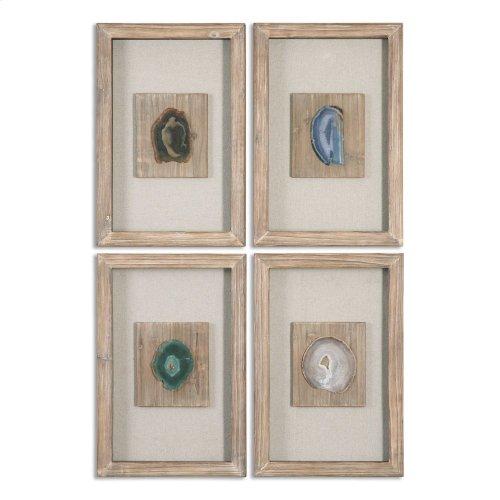 Agate Stone Shadow Box, S/4