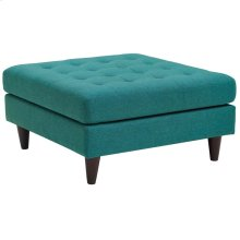 Empress Upholstered Fabric Large Ottoman in Teal