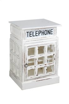CC-CAB064SOLD-WW  Cottage English Phone Booth End Table  Distressed  White