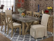Boulder Ridge Rectangle Concrete Dining Table With Four X Back Dining Chairs and Two Slipcovered Parson Chairs