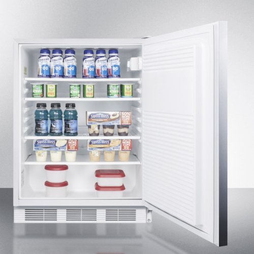 ADA Compliant All-refrigerator for Freestanding General Purpose Use, Auto Defrost W/lock, Ss Door, Horizontal Handle, and White Cabinet