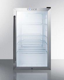 Commercial Freestanding Beverage Merchandiser With Glass Door, Black Cabinet, Front Lock, and Digital Thermostat