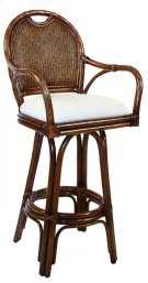 """Legacy Indoor Swivel Rattan & Wicker 30"""" Bar Stool in TC Antique Finish with Cushion Product Image"""