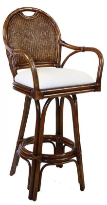 "Legacy Indoor Swivel Rattan & Wicker 30"" Bar Stool in TC Antique Finish with Cushion"