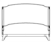 Cali King Louis XV Mahogany Bed, Upholstered in Dove Silk