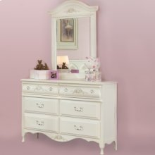 Six Drawer Double Dresser and Vertical Mirror