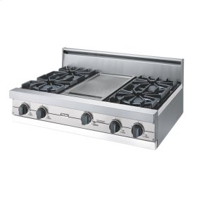 "Metallic Silver 36"" Open Burner Rangetop - VGRT (36"" wide, four burners 12"" wide griddle/simmer plate)"