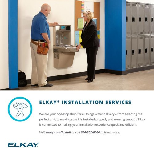Elkay Cooler Wall Mount Bi-Level GreenSpec ADA, Vandal-Resistant Non-Filtered 8 GPH Stainless