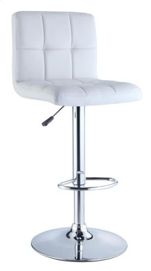 White Quilted Faux Leather & Chrome Adjustable Height Bar Stool