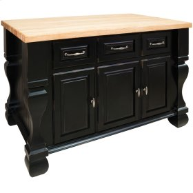 """52-5/8"""" x 32-3/8"""" x 35-1/4"""" Distressed black furniture style kitchen island with ample cabinet storage as well as opening shelf on the reverse."""
