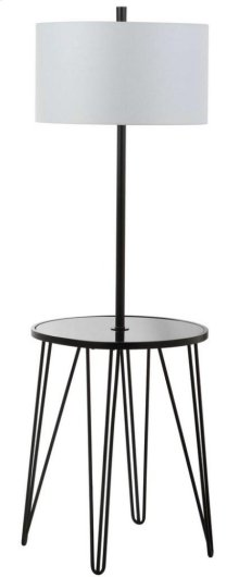 Ciro 58-inch H Floor Lamp Side Table - Black Shade Color: Off-White