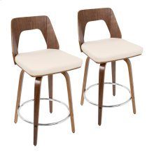 "Trilogy 24"" Counter Stool - Set Of 2 - Walnut Wood, Cream Pu, Chrome"