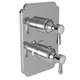 """Flat Black 1/2"""" Square Thermostatic Trim Plate with Handle"""