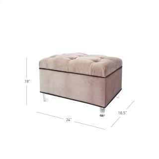 Pandora KD Fabric Storage Ottoman Acrylic Legs, Chamoise