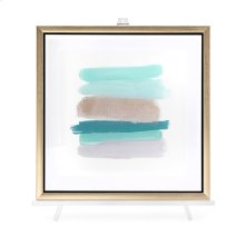 TY Blue Line Art Acrylic Framed Wall Decor w/Easel