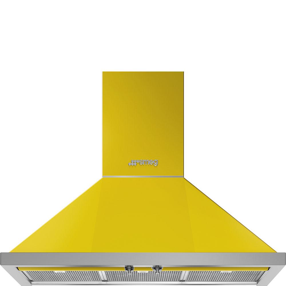 """Smeg36"""" Portofino Chimney Hood, Yellow"""