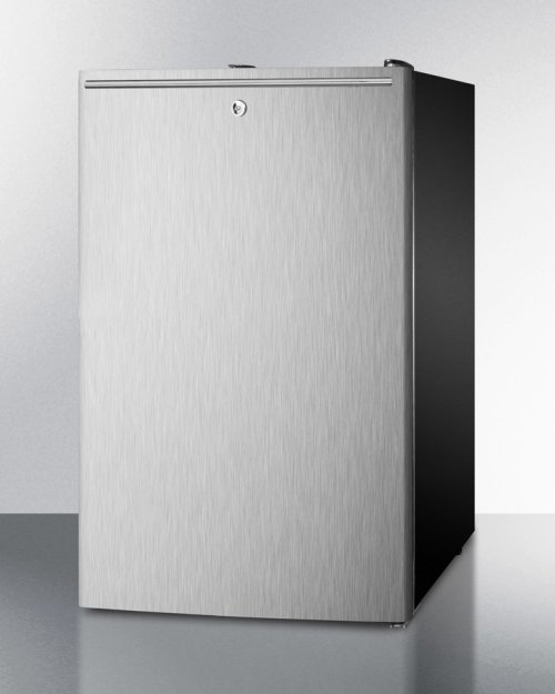 "Commercially Listed 20"" Wide Counter Height Refrigerator-freezer With A Lock, Stainless Steel Door, Horizontal Handle and Black Cabinet"