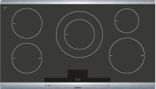 """36"""" Induction Cooktop with SteelTouch Control and AutoChef® 800 Series - Black with Stainless Steel Strips NIT8665UC"""