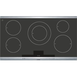 "Bosch36"" Induction Cooktop with SteelTouch Control and AutoChef(R) 800 Series - Black with Stainless Steel Strips NIT8665UC"