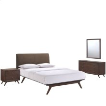 Tracy 4 Piece Queen Upholstered Fabric Wood Bedroom Set in Cappuccino Brown