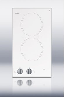 115V two-burner cooktop in white ceramic glass, made in Europe