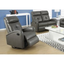 RECLINING CHAIR - SWIVEL GLIDER / CHARCOAL GREY PU